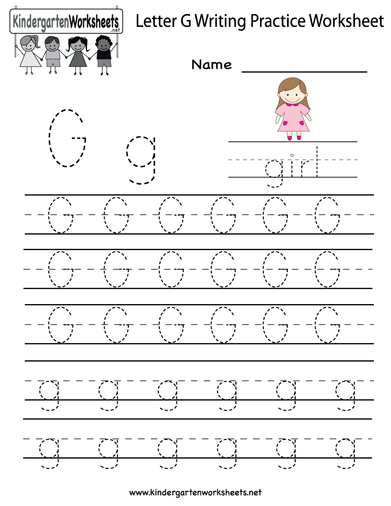 Worksheets Letter G Worksheets For Kindergarten kindergarten letter g writing practice worksheet printable is printable