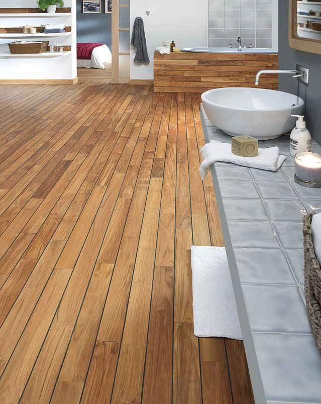 Teak with rubber for Shower by PANAGET wood floor design - Sol Teck Salle De Bain