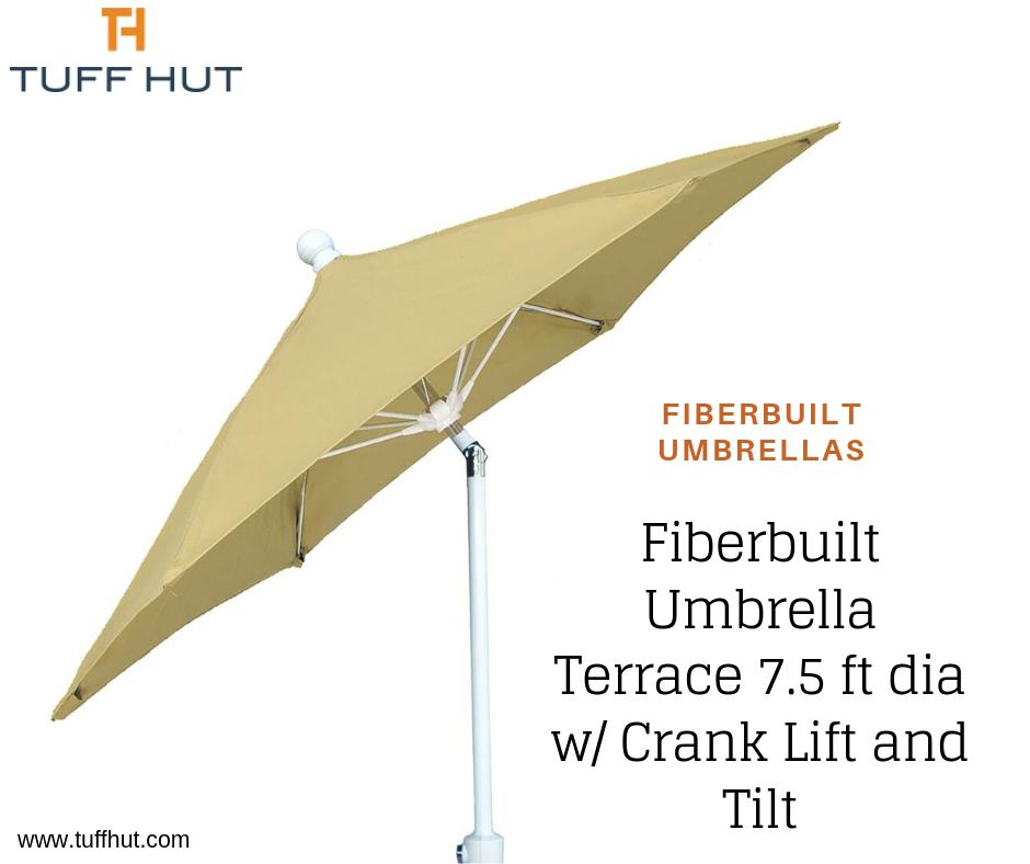 Fiberbuilt Umbrella Terrace 7.5 ft dia w/ Crank Lift and Tilt