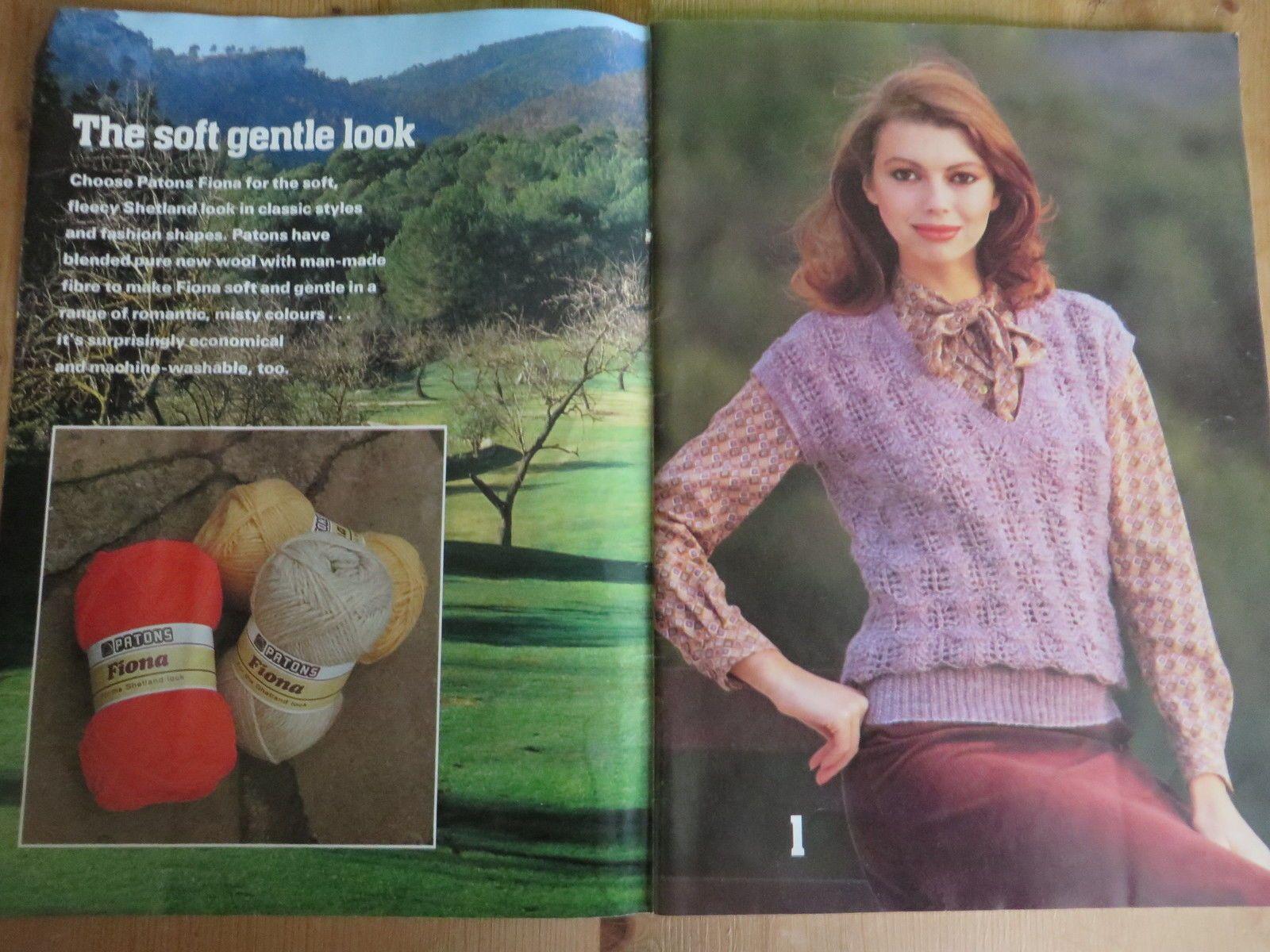 Vintage PATONS knitting pattern book 1980 Shetland Look Waistcoats ...