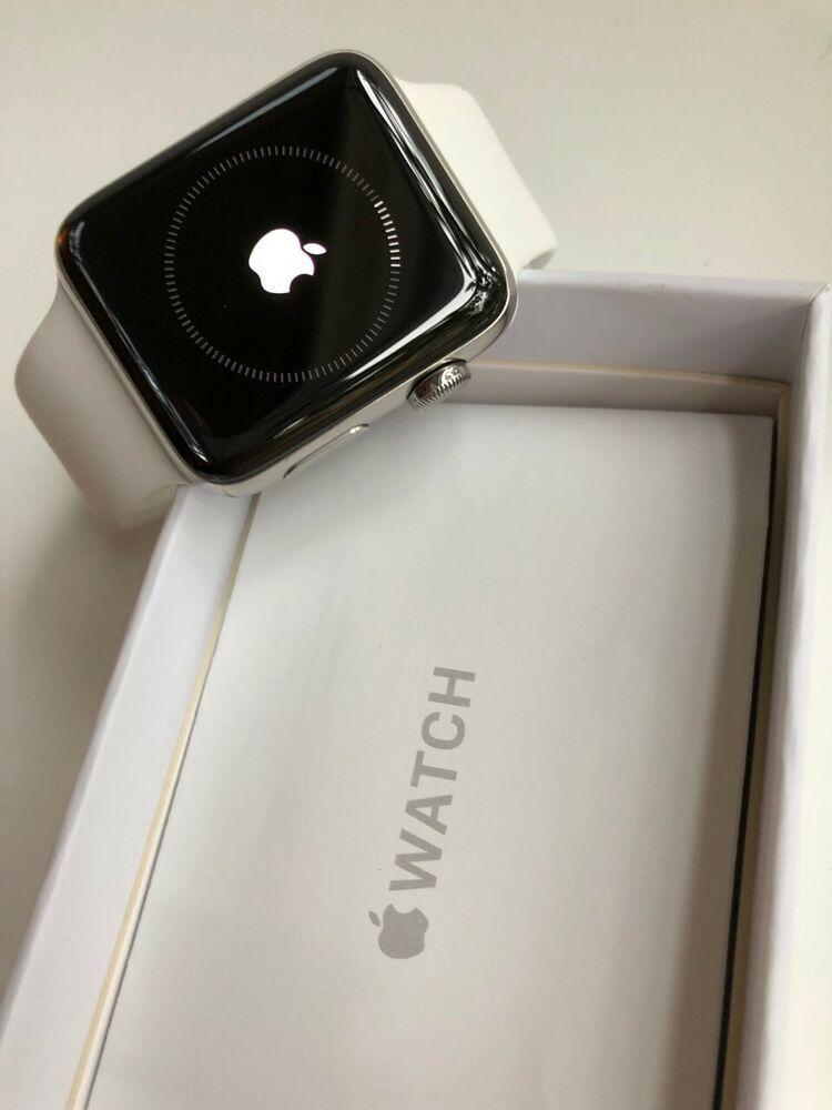 Apple Watch Series 2 42mm Stainless Steel Case White Sport Band Mnpr2ll A 58 Bids Apple Watch Series 2 Apple Watch Series Apple Watch