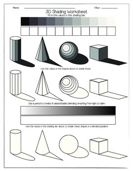 3d shading worksheet in 2019 a caboodle of common core art worksheets drawings art handouts. Black Bedroom Furniture Sets. Home Design Ideas