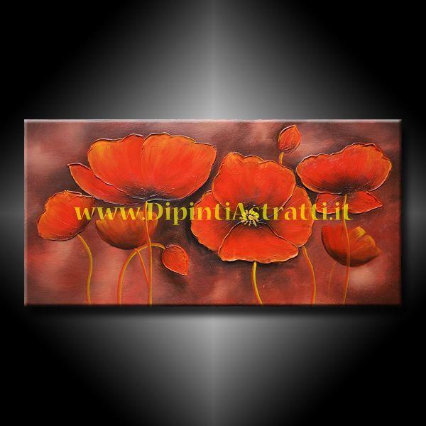 Quadro con fiori di papavero rossi interamente dipinto a for Quadri con papaveri rossi