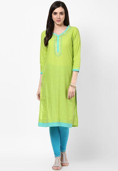 3152e6248 Cotton Green Kurta - Rangriti Kurtas   kurtis for women