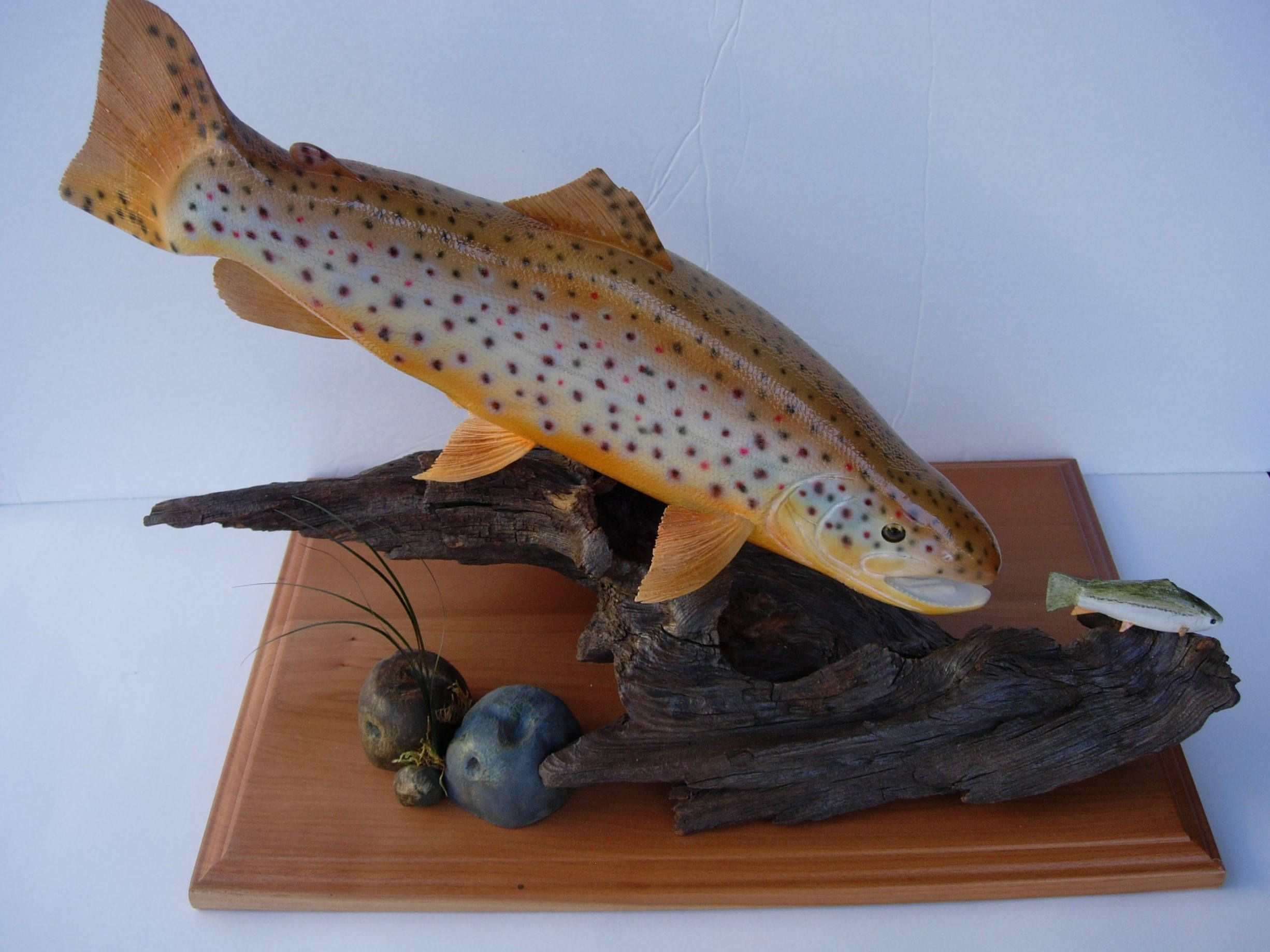 Fly Fishing Art Wildlife Fish Decor Wood Sculpture Carving Nature Gift