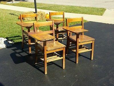Vintage Antique Wooden School Desks * Lot of Four - LAST CHANCE AT THIS  PRICE - Vintage Antique Wooden School Desks * Lot Of Four - LAST CHANCE AT
