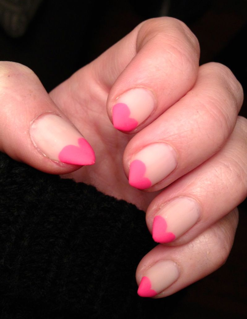 Heart Tips Stiletto Nails Like This On Shorter Nail With Images
