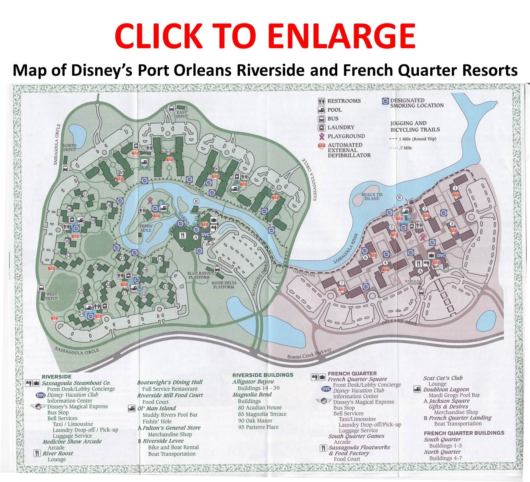 Amazing Map Of Port Orleans Riverside | The Map, French Quarter Is The Purple Area  On The Right, And Riverside .