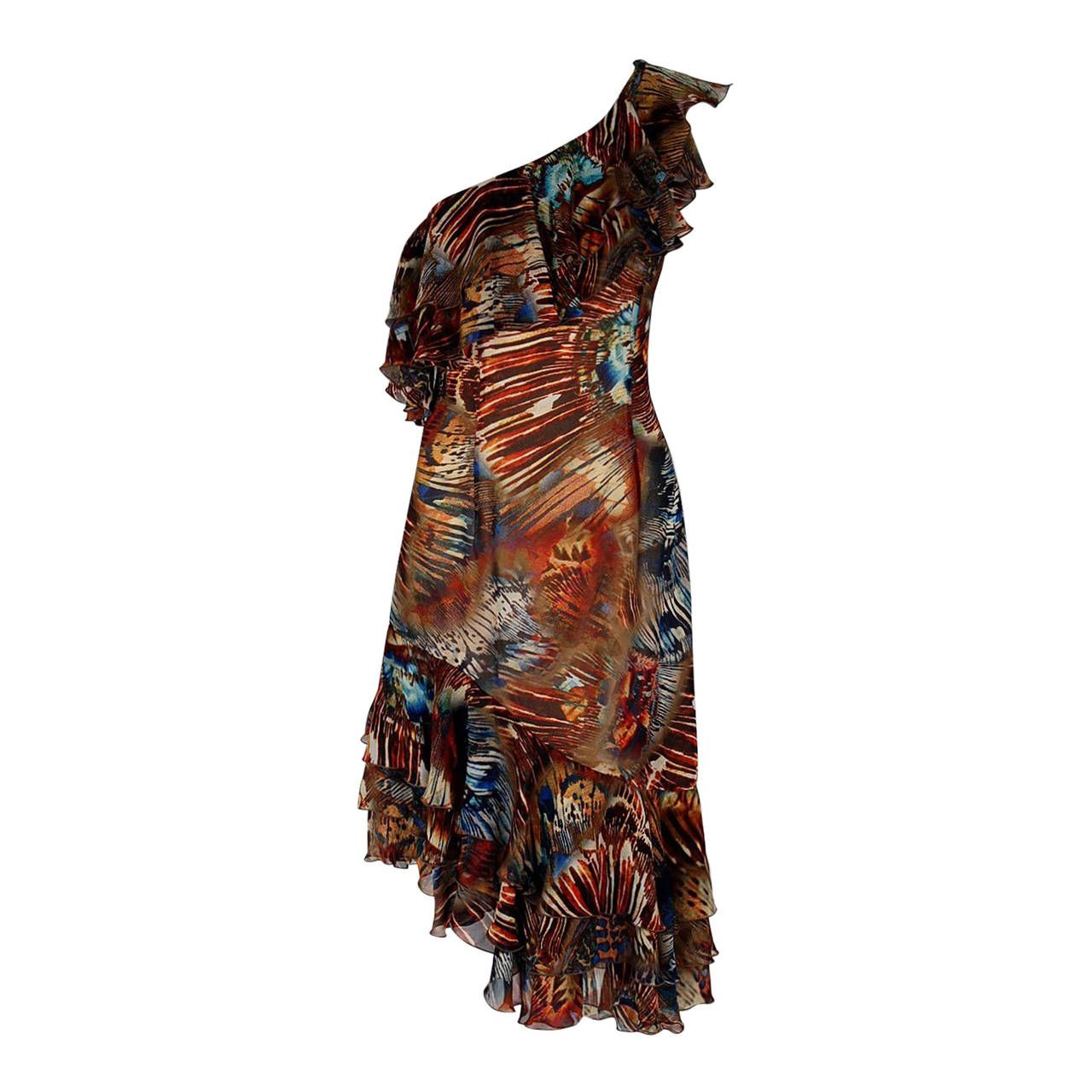 1990's Thierry Mugler Couture Abstract Feather Print Silk One-Shoulder Dress   From a collection of rare vintage day dresses at https://www.1stdibs.com/fashion/clothing/day-dresses/