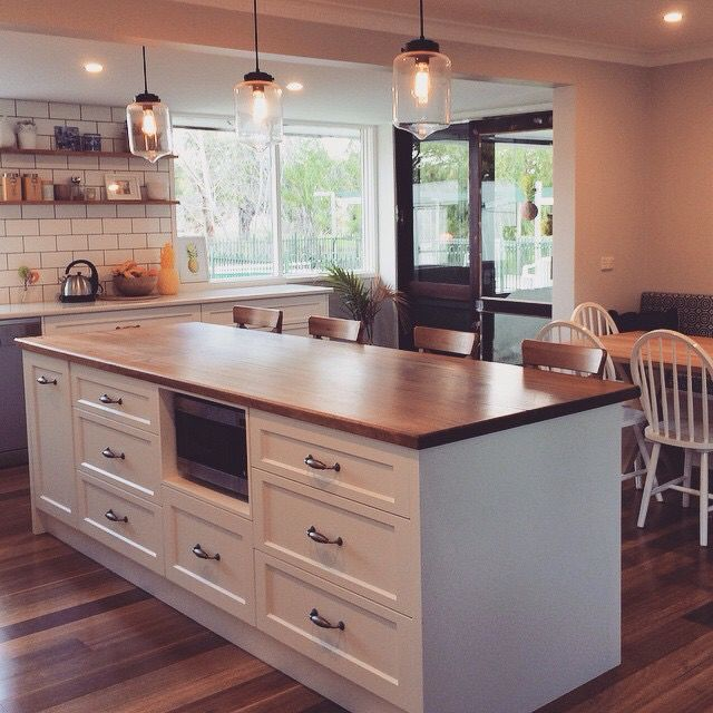 loving the white tile splash back flooring and wooden bench top kitchen layout home kitchens on kitchen remodel not white id=43028