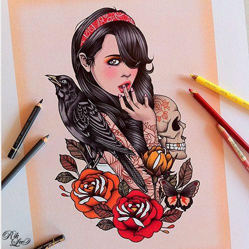 Las caras bonitas de rik lee tattoo tatoo and tatting for New school pin up girl tattoos