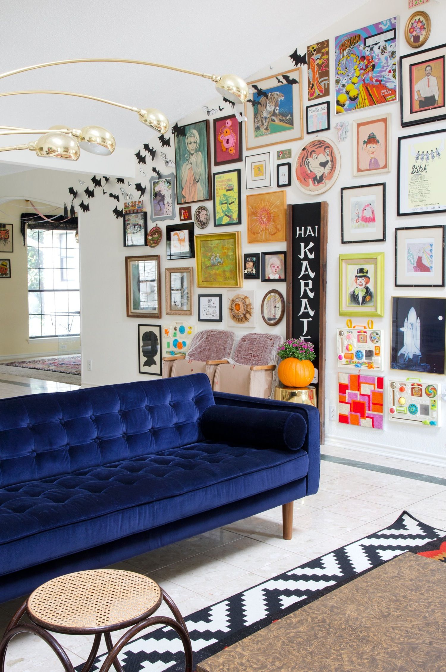 Blue Velvet Sofa Via Apartment Therapy