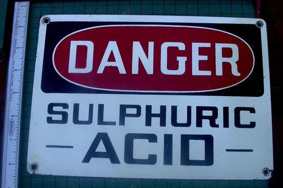 Danger Sulfuric Acid Vintage enamel sign | Great Signs