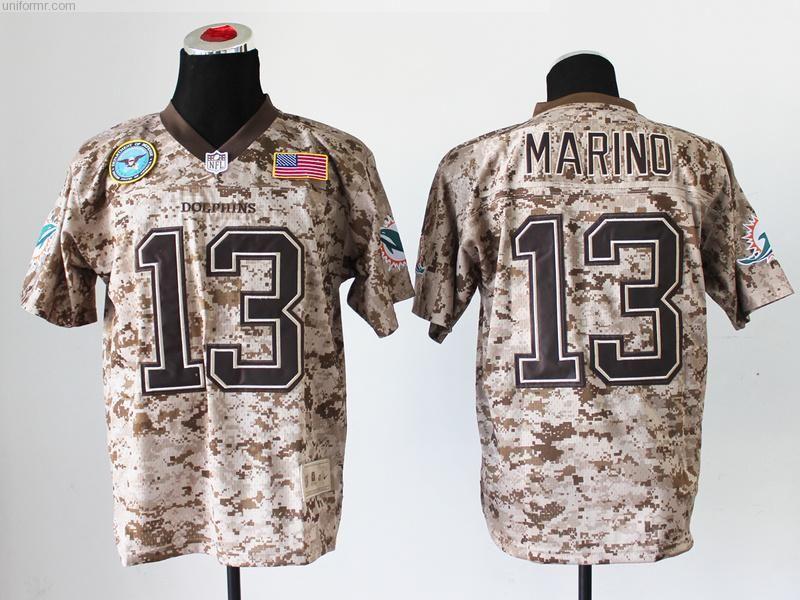 more photos bc9dd ac4c4 men Dan Marino 13 Miami Dolphins Digital Camo Salute to ...
