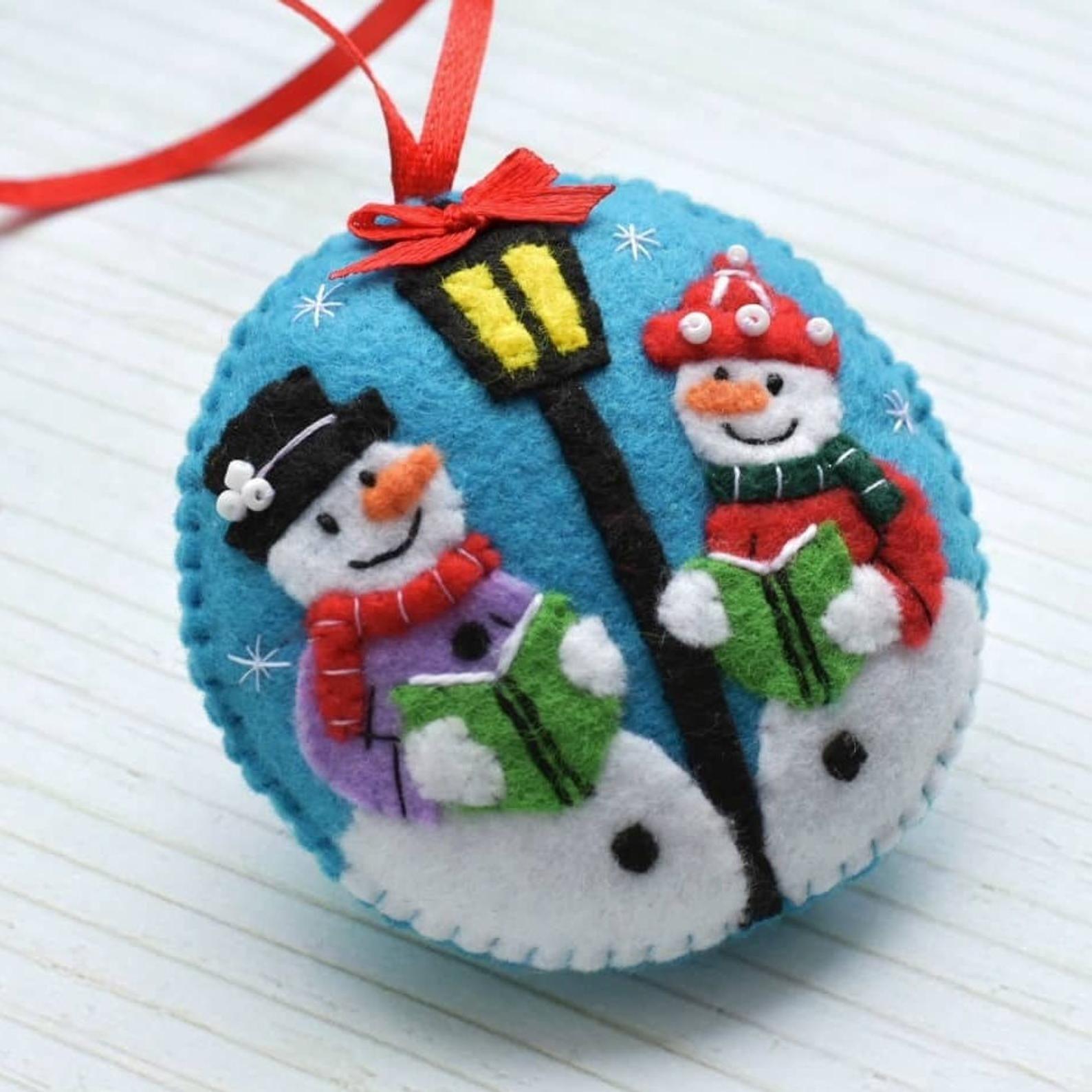 Christmas Decorations Felt Snowman Ornament Snowman Decor Etsy Handmade Felt Ornament Felt Christmas Decorations Felt Ornaments