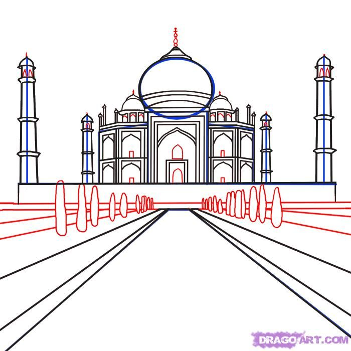 How To Draw The Taj Mahal Step By Step Drawing Guide By