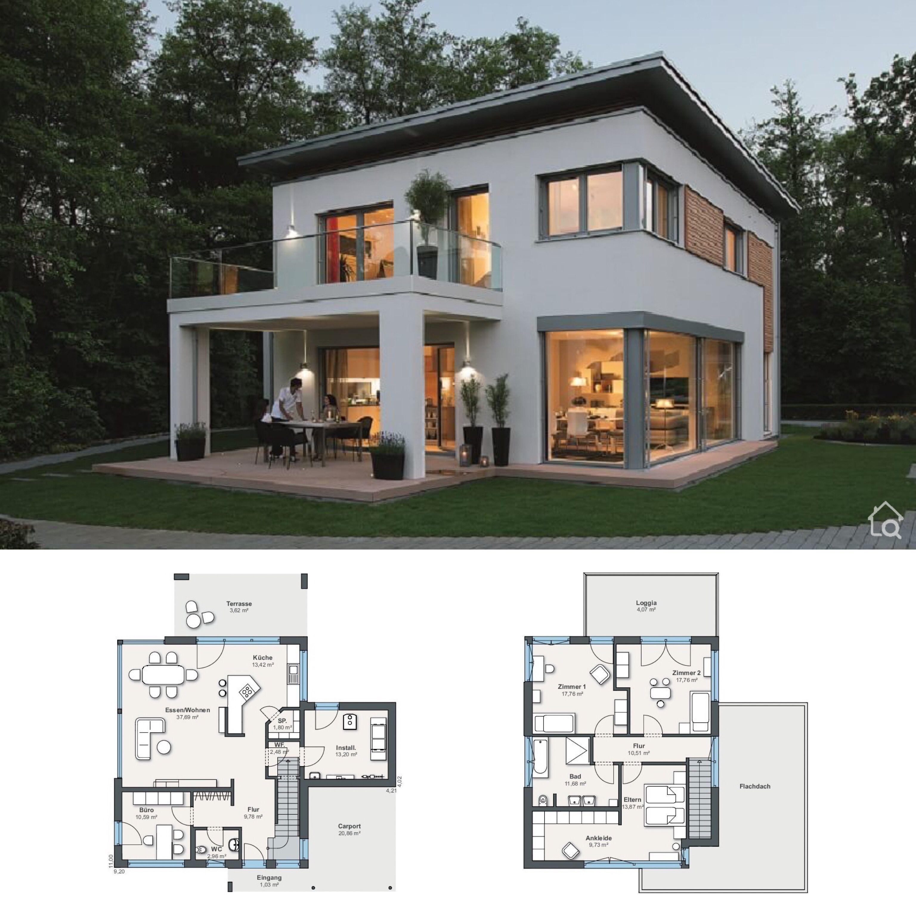 Modernes Einfamilienhaus mit Flachdach Architektur ...