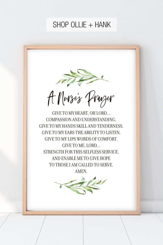 Nurse Gifts Ideas | A Nurse's Prayer Print
