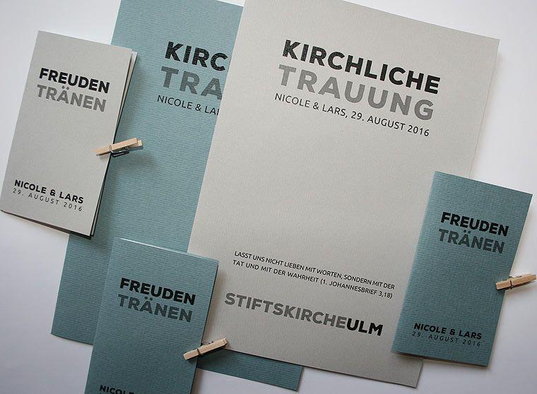 Hochzeitskartenserie PURIST Kirchenheft und Freudentrnen