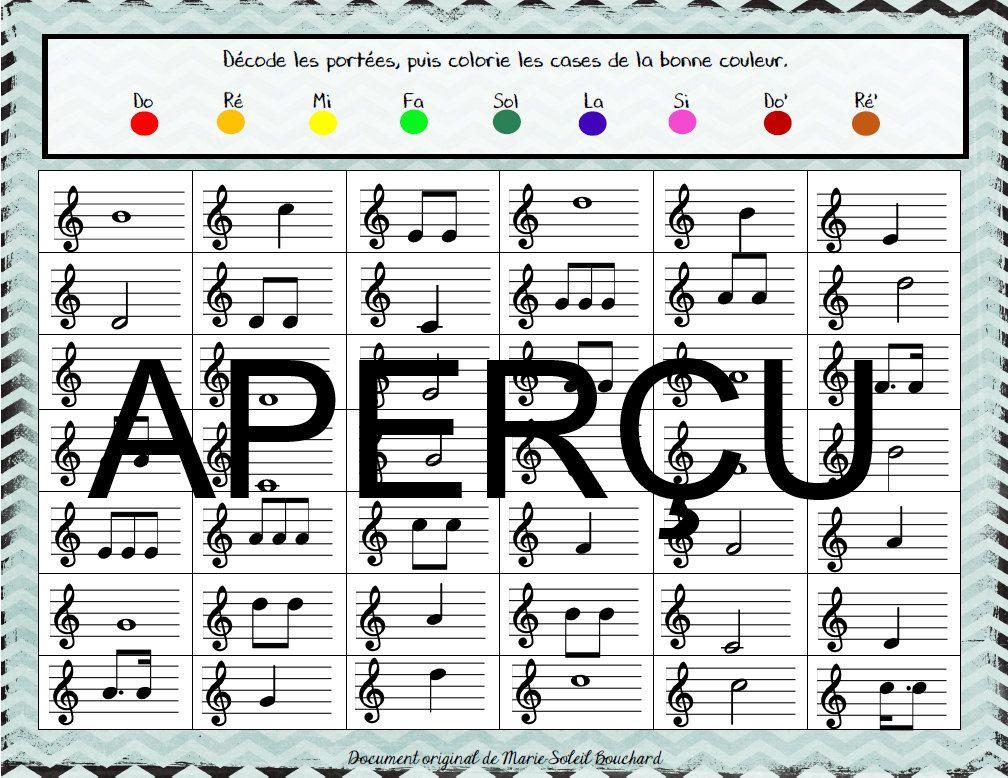 Colorie les notes (portée) - Musique primaire de la ...