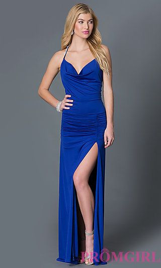 Cowl Neck Royal Blue Ruched Long Prom Dress at PromGirl.com | Fancy ...