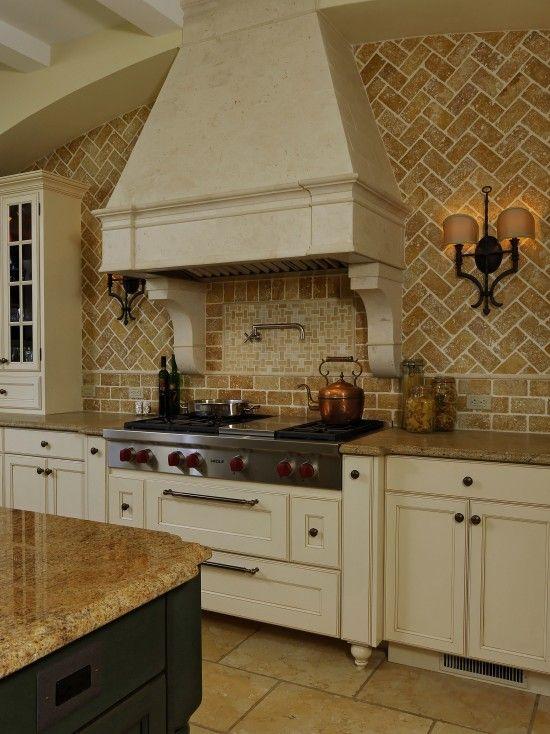 Love the herringbone-pattern brick backsplash   The Kitchen ...