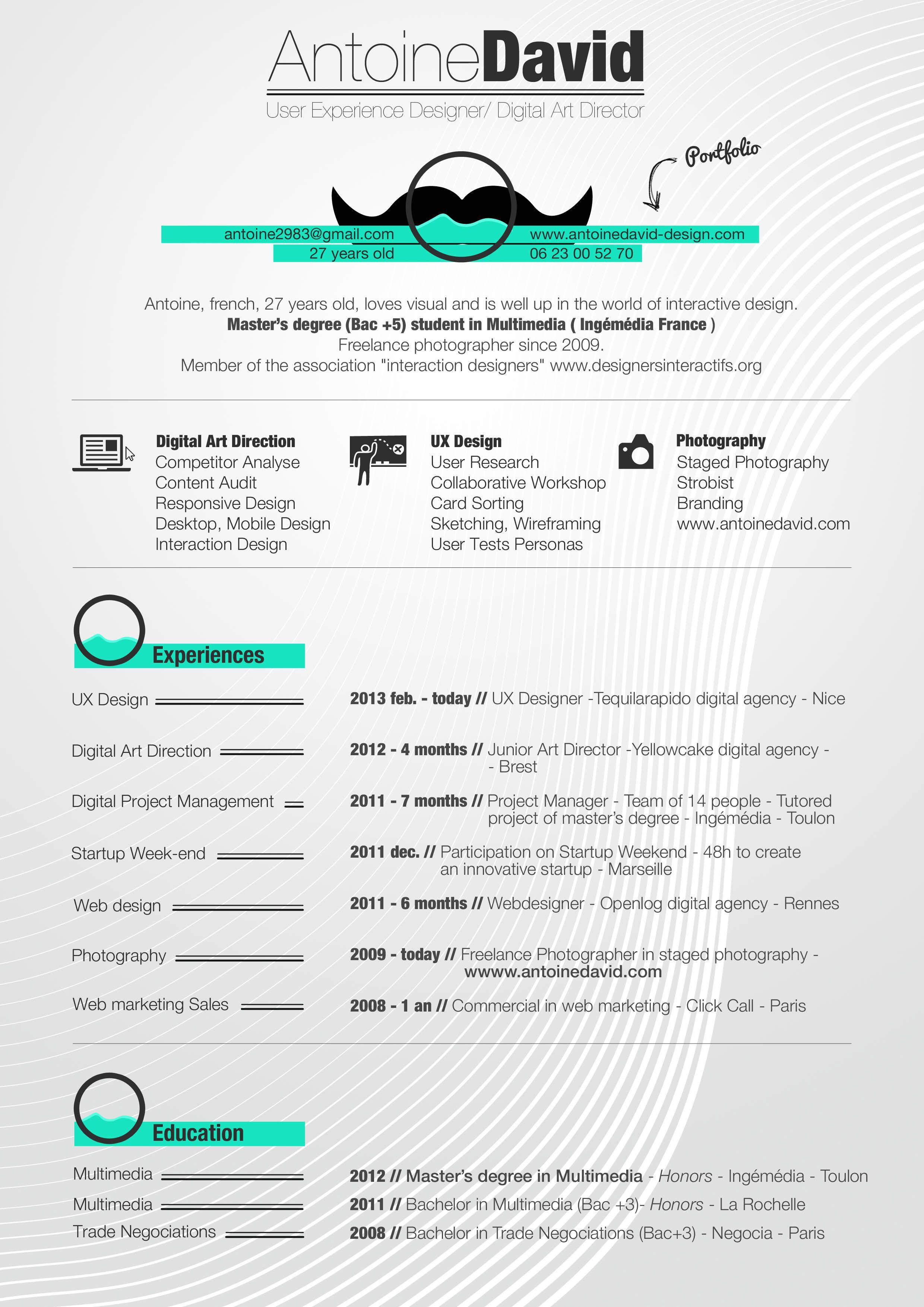 Curriculumvitae Antoine David Ux Designer Allege Jpg 2480 3508 Ux Design Interactive Design Curriculum Vitae Design