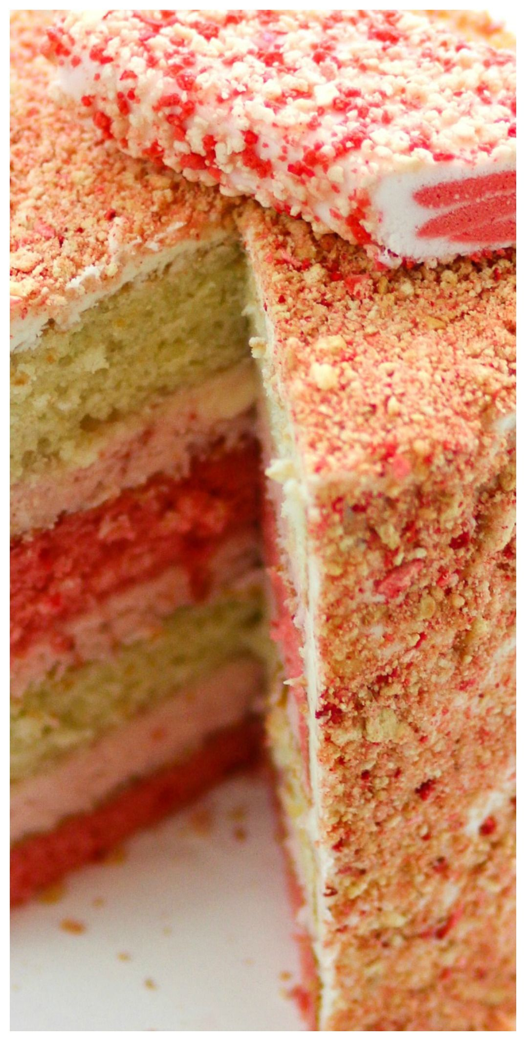 Strawberry Crunch Cake ~ A layer cake version of one of my ...