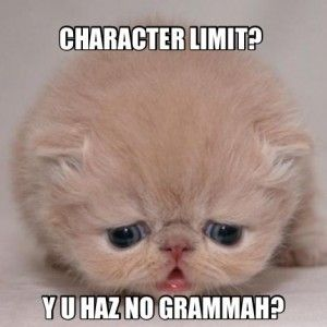 Y U No Haz Grammah? Don't Blame the Character Limit! You