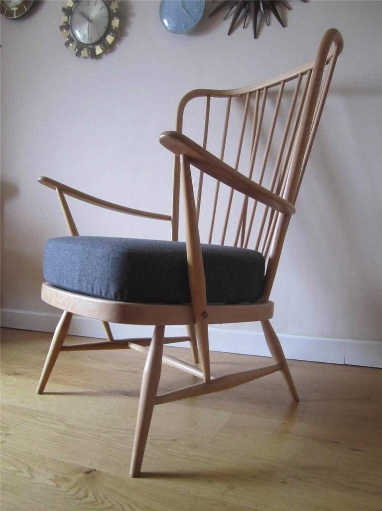 Retro Ercol Evergreen High Back Chair 60 S Armchair Atomic