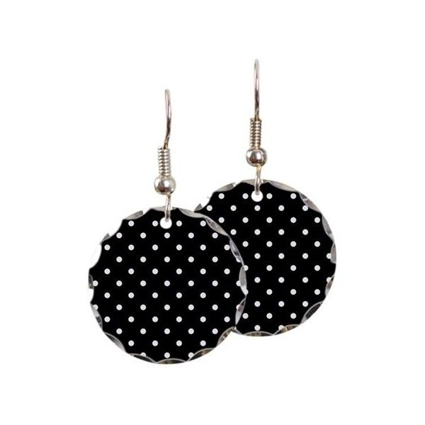 Black And White Polka Dot Earring 23 Liked On Polyvore Featuring Jewelry Earrings