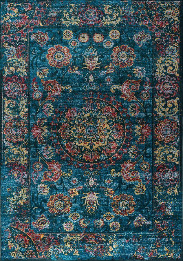 5 X 8 Medium Vintage Teal Blue And Red Area Rug Antika Area