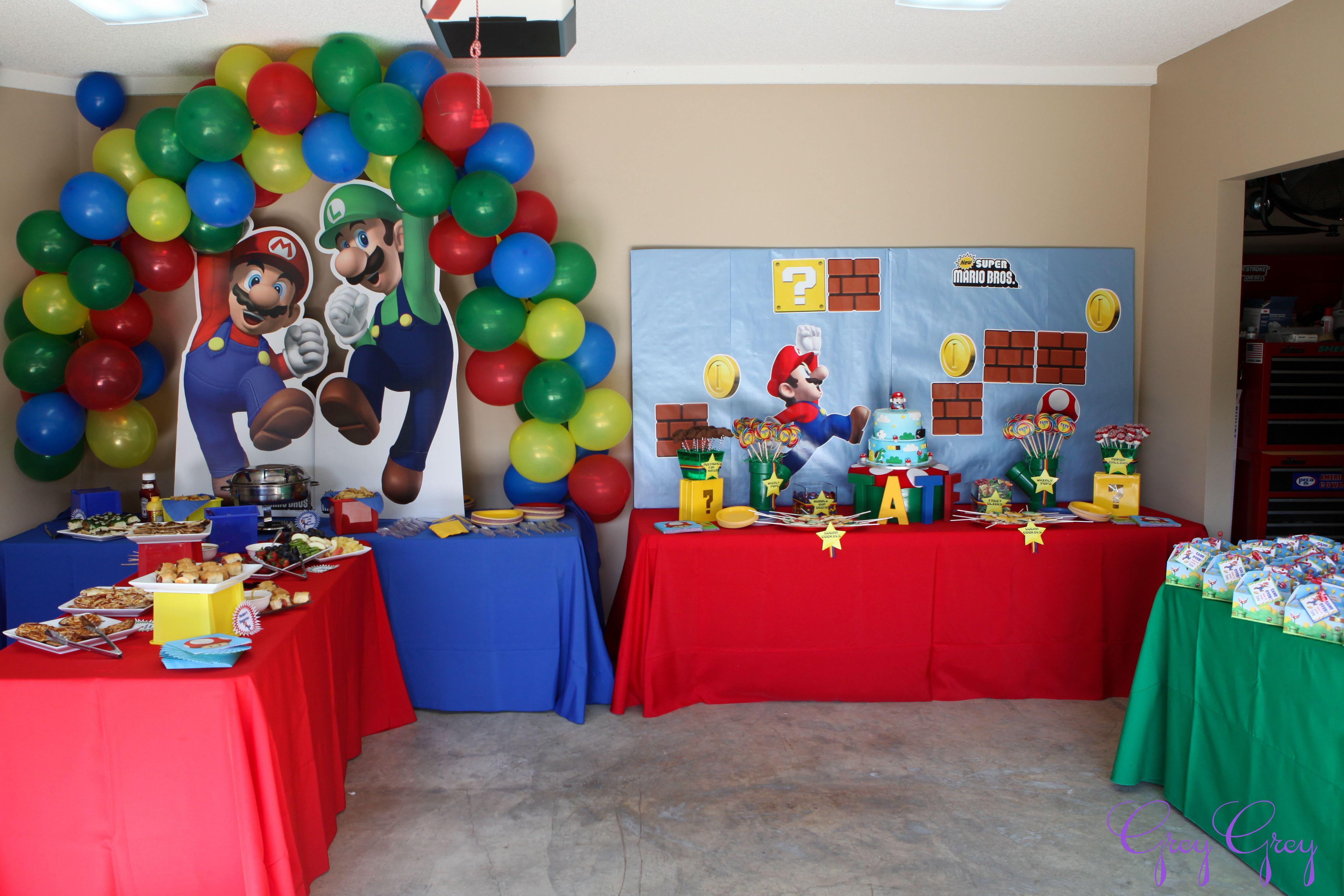Cool backdrop mario bros birthday party ideas super