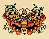 Photo of Old School Tattoo Art Flash BEE Butterfly & Skull MOTH Prints 5 x 7, 8 x 10 or 1…