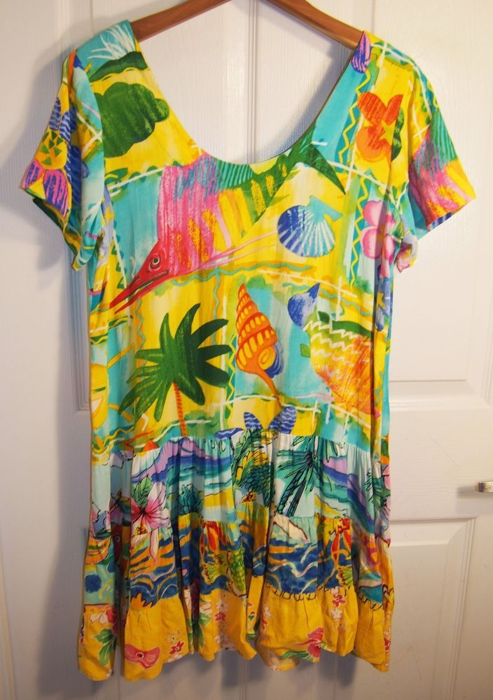 JAMS WORLD Rayon HATTIE DRESS in SUNNYVALE Floral Hawaiian-Shift-SEASHELL-XS! #JamsWorld #Shift #Casual