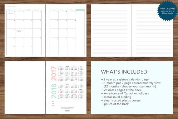 2018 Monthly Planner 12 Month Calendar Choose Your Start Month