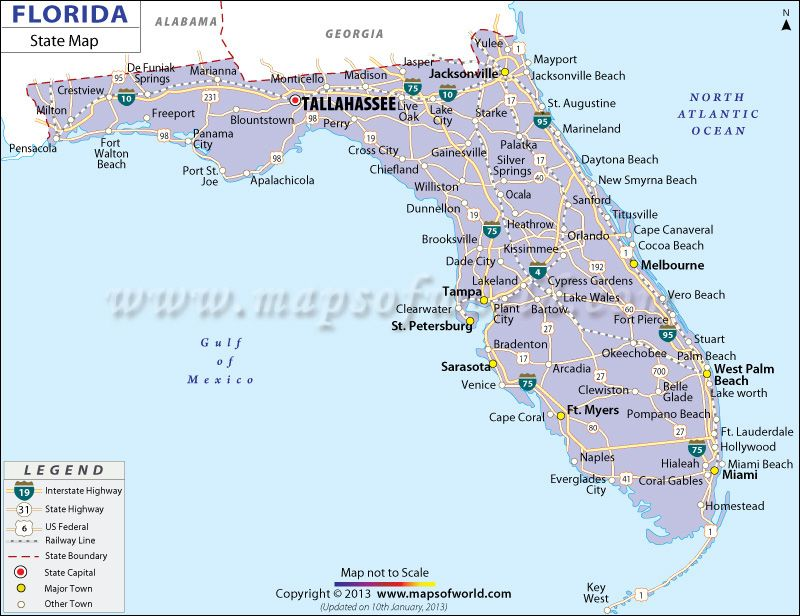 State Map of Florida in 2019 | Florida state map, State of ...