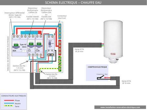 cablage électrique contacteur jour nuit Cableado eléctrico Pinterest - Schema Tableau Electrique Maison