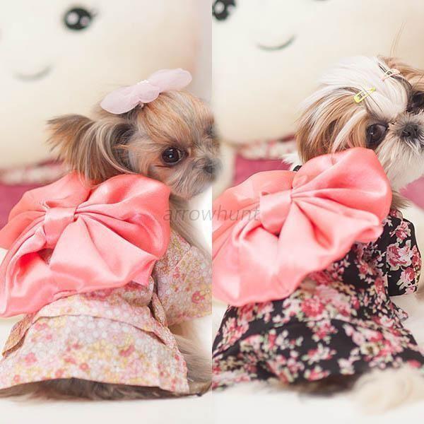 Details About New Pet Dog Cat Clothes Floral Japanese Kimono Bow