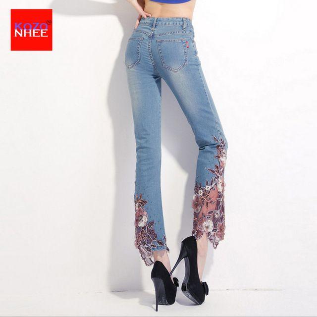 Color perla bordado estiramiento jeans con bordados de las mujeres pantalones vaqueros rectos - Decorar pantalones vaqueros ...