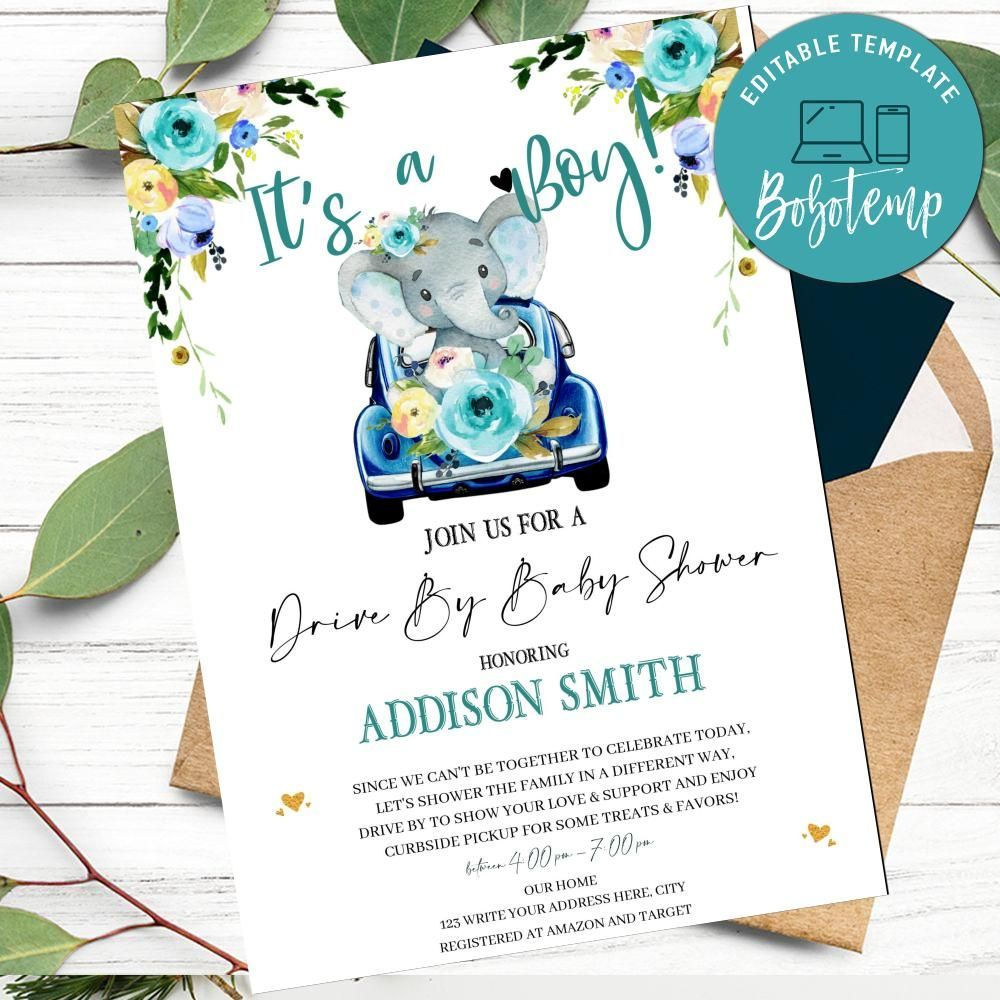 Customizable Boy Elephant Drive By Baby Shower Invitation Template Instant Download It S A Bo Baby Shower Invitations Diy Baby Shower Invitations Baby Shower Diy baby shower invitation template