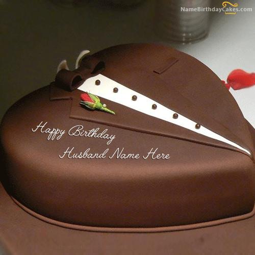 Write Name On Chocolate Heart Cake For Husband Healing