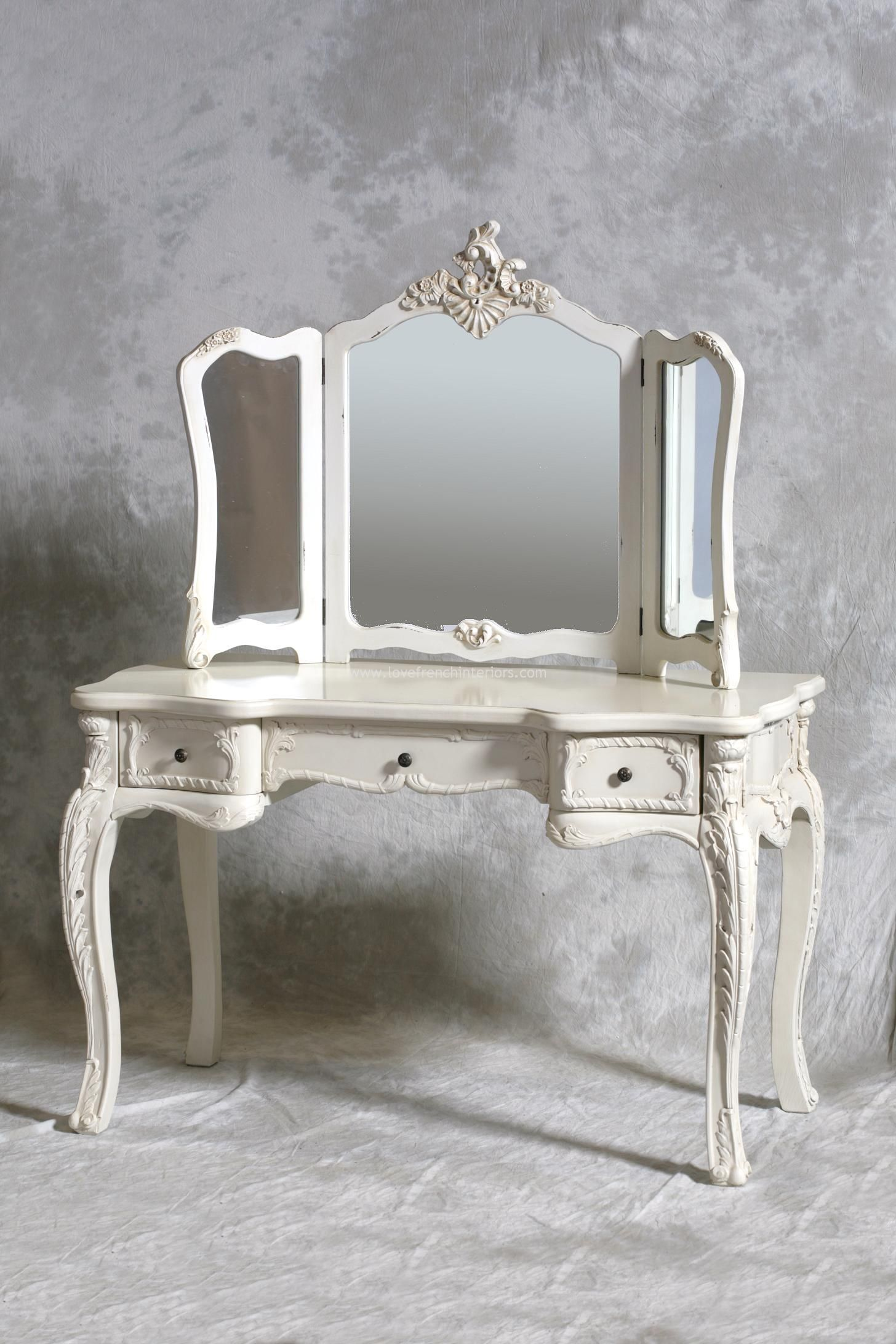 Furniture French Style Antique And Vintage Makeup Vanity Table With 3 Folding Mirror Set Drawer Painted White Color Plus Carving Wooden Legs