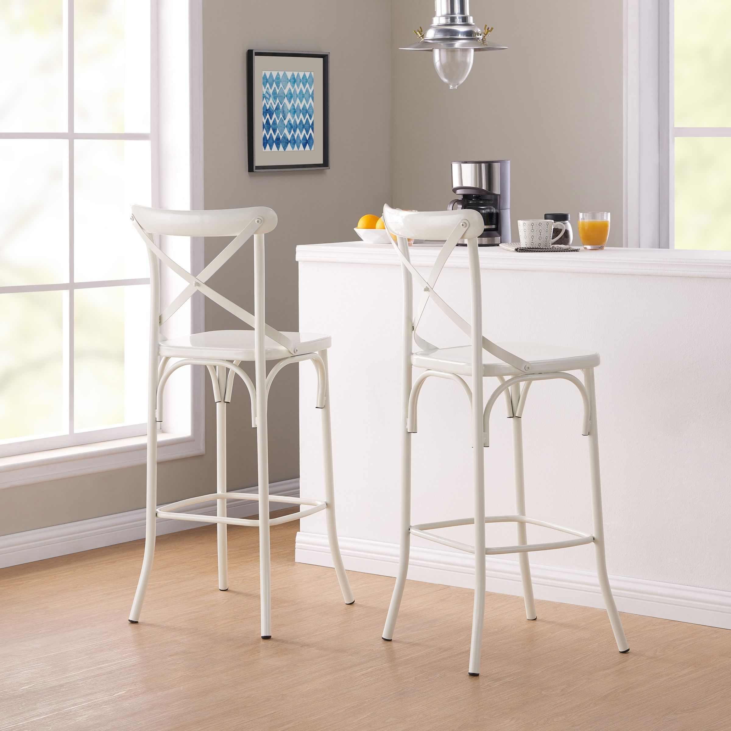 Better Homes Gardens Matilda Bar Stools Set Of 2 White Walmart Com Bar Stools Better Homes Gardens Home