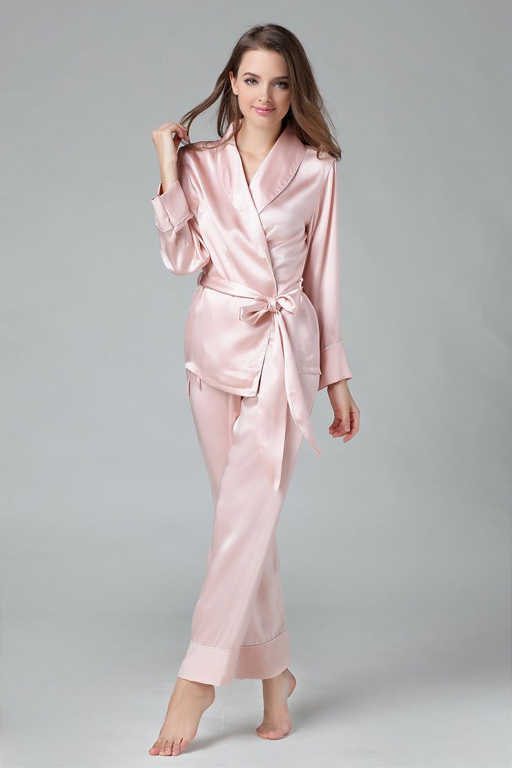 New MS Chinese Heavy Silk Satin Sleepwear Female 100% pure Long sleeve full  Pants Pajama Set Women Home Sleep Lounge Suit-inPajama… e914224fe