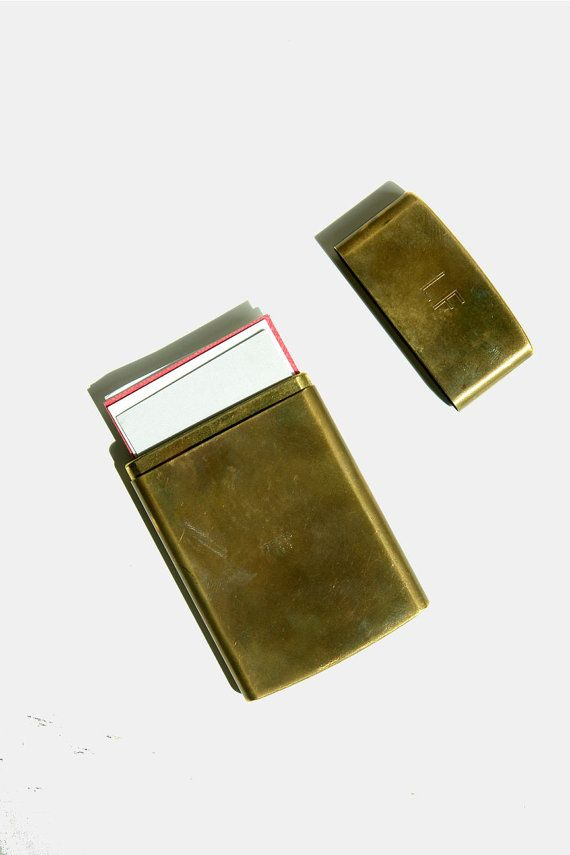 Vintage Brass Chas T Kennedy No 9 Cigarette Case Business Card Holder An