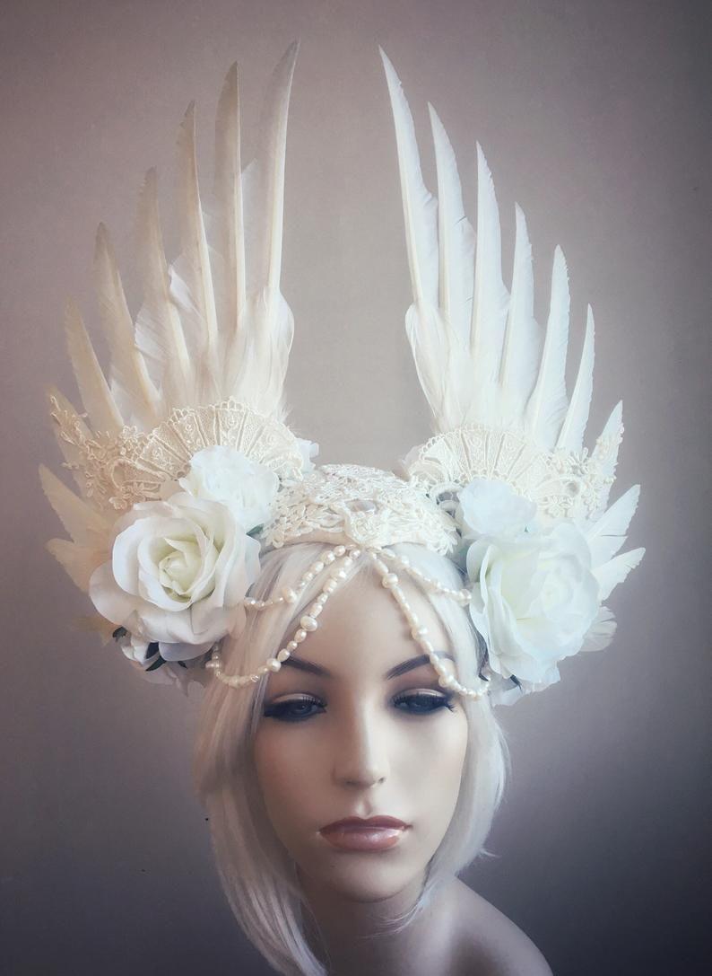 White Wedding Bride Floral Headband Pearl Crown Headwear Women Decoration Gifts