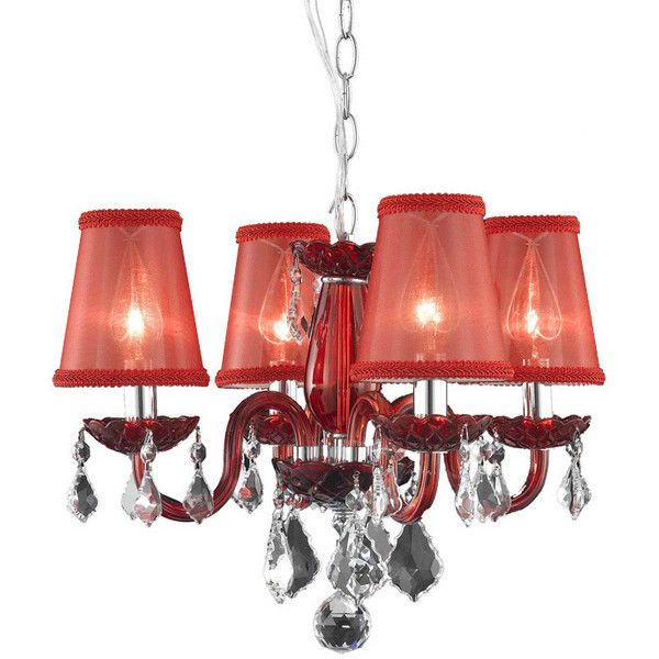 Somette 4-Light Red Chandelier With Crystals and Shades (310 CAD) ❤ liked on Polyvore featuring home, lighting, ceiling lights, red, colored lamps, crystals chandelier, red lamp, chain chandelier and colored lights