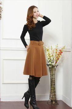 a98b6b3ef7 Aliexpress.com  Comprar Recién llegado de otoño invierno falda de lana para  mujeres más el tamaño falda larga de talle alto faldas plisadas mujeres de  ...