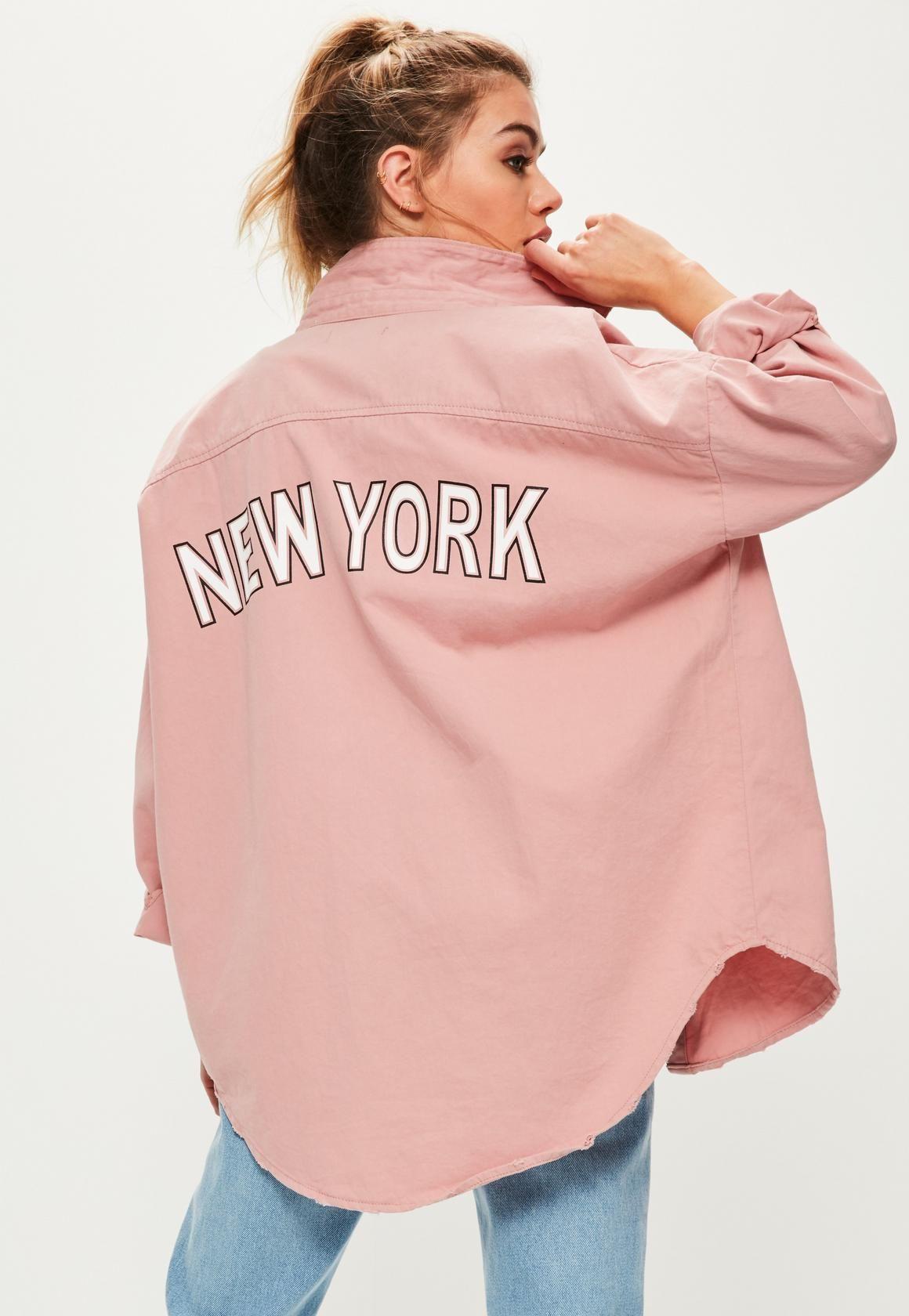 Missguided - Pink Slogan Back Oversized Denim Shirt     ...